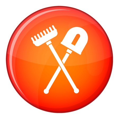 horticultural: Shovel and rake icon in red circle isolated on white background vector illustration