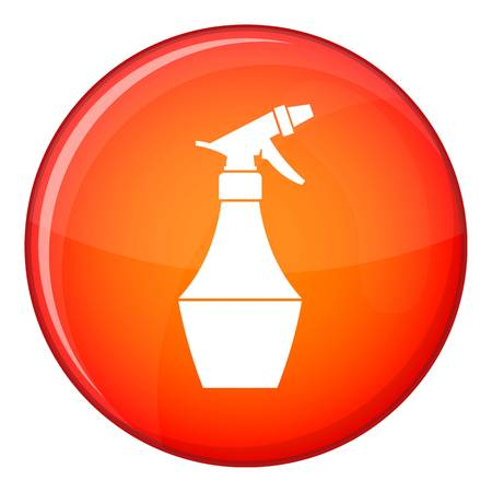 Spray bottle for flower icon in red circle isolated on white background vector illustration