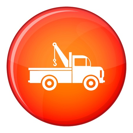 the wrecker: Car towing truck icon in red circle isolated on white background vector illustration Illustration