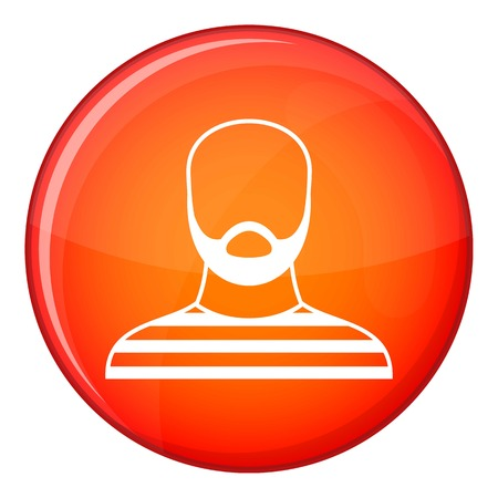 jailbird: Bearded man in prison garb icon in red circle isolated on white background vector illustration