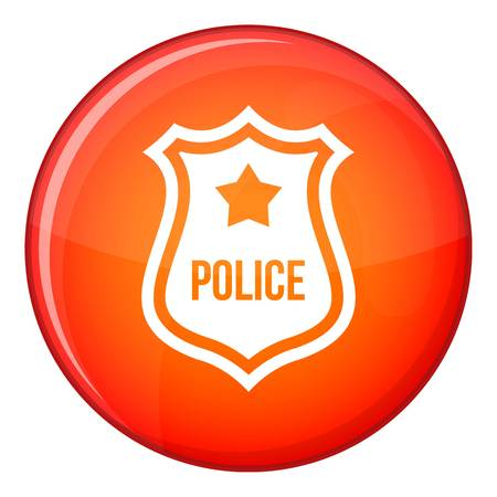 cockade: Police badge icon in red circle isolated on white background vector illustration