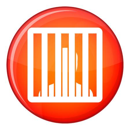 imprison: Man behind jail bars icon in red circle isolated on white background vector illustration