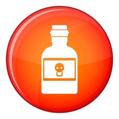 veneno frasco: icono de la botella de veneno en el círculo rojo aislado en el fondo blanco ilustración vectorial