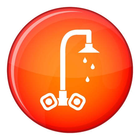 sink drain: Dripping tap icon in red circle isolated on white background vector illustration Illustration