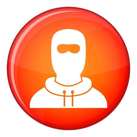 Mann im Kopfschutz-Symbol im roten Kreis auf weiße Hintergrund Vektor-Illustration