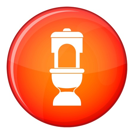 septic: Toilet bowl icon in red circle isolated on white background vector illustration