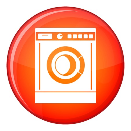Washing machine icon in red circle isolated on white background vector illustration