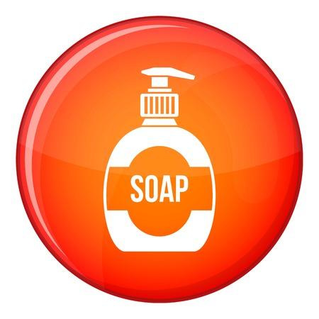 lavar platos: Botella de icono de jabón líquido en el círculo rojo aislado en el fondo blanco ilustración vectorial Vectores