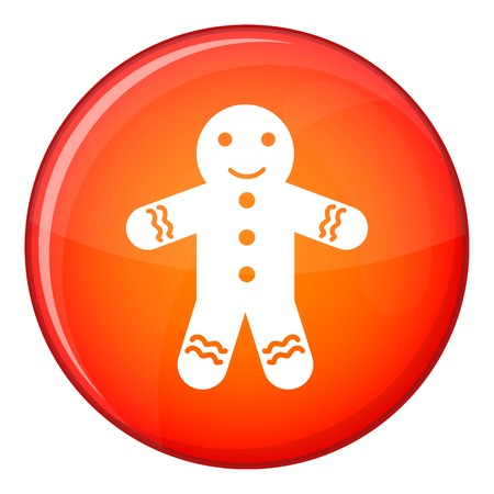 Gingerbread man icon in red circle isolated on white background vector illustration Illustration