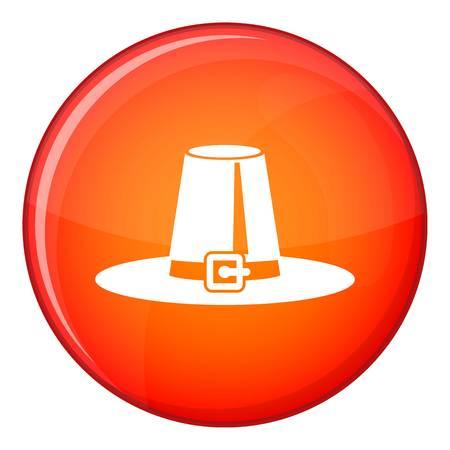 pilgrim hat: Pilgrim hat icon in red circle isolated on white background vector illustration