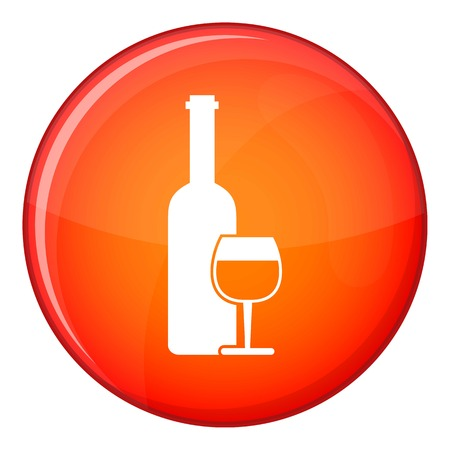 Wine bottle and glass icon in red circle isolated on white background vector illustration