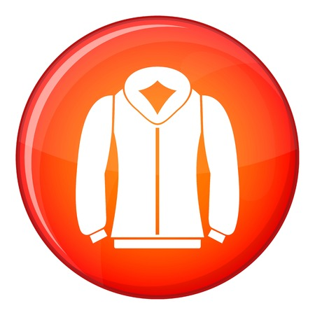 zipper hooded sweatshirt: Sweatshirt icon in red circle isolated on white background vector illustration