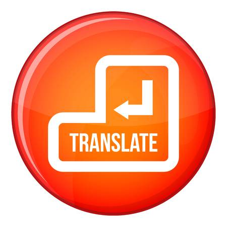 Translate button icon in red circle isolated on white background vector illustration