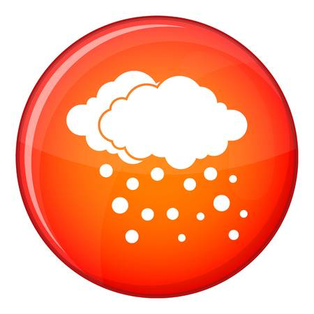 Cloud and snow icon in red circle isolated on white background vector illustration