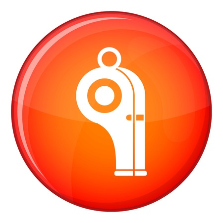 penalty: Sport whistle icon in red circle isolated on white background vector illustration
