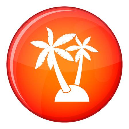 subtropical: Palm trees icon in red circle isolated on white background vector illustration