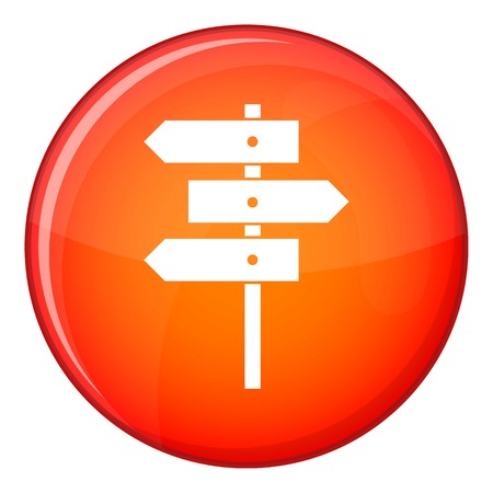 traffic pole: Direction signs icon in red circle isolated on white background vector illustration