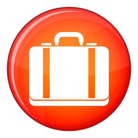 lugage: Suitcase icon in red circle isolated on white background vector illustration Illustration