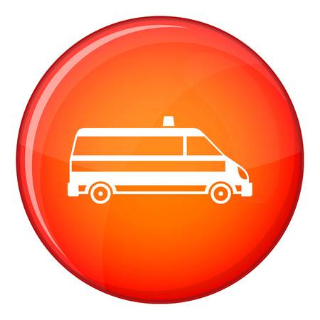 disaster relief: Ambulance car icon in red circle isolated on white background vector illustration