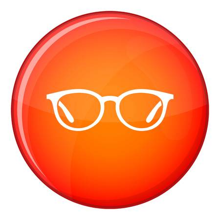 optician: Glasses icon in red circle isolated on white background vector illustration
