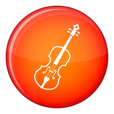 concerto: Cello icon in red circle isolated on white background vector illustration