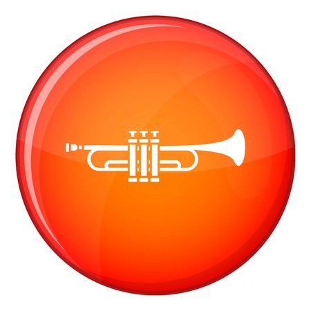 blare: Brass trumpet icon in red circle isolated on white background vector illustration