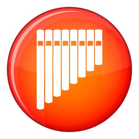 panpipe: Pan flute icon in red circle isolated on white background vector illustration