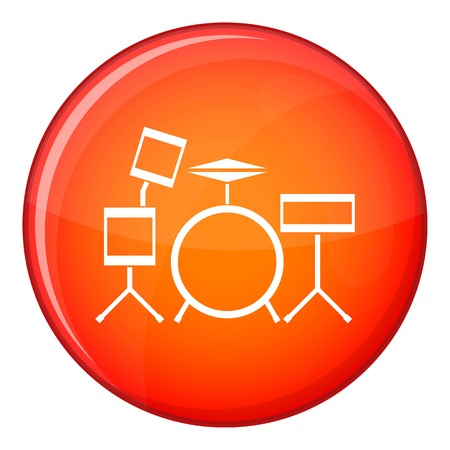 Drum kit icon in red circle isolated on white background vector illustration