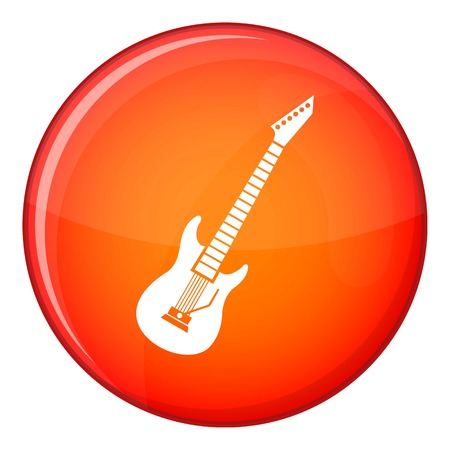 rosewood: Electric guitar icon in red circle isolated on white background vector illustration Illustration