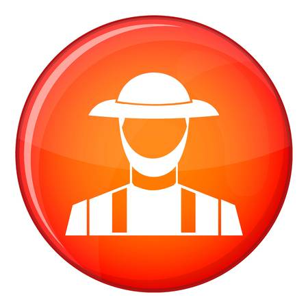 agrarian: Farmer icon in red circle isolated on white background vector illustration