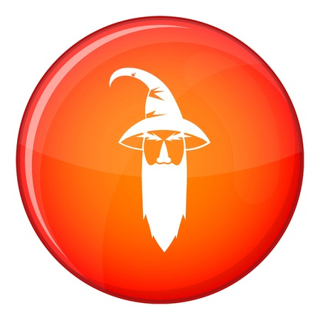 Wizard icon in red circle isolated on white background vector illustration