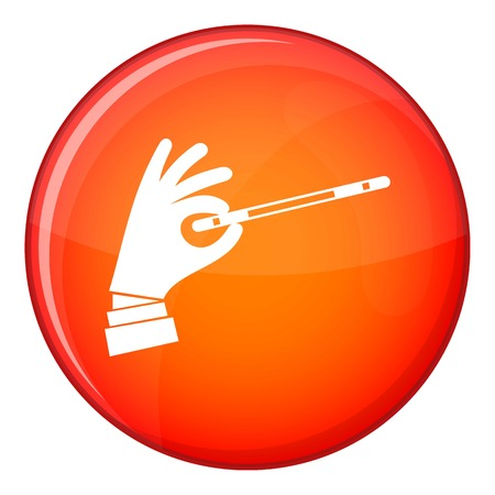 Magician hand with a magic wand icon in red circle isolated on white background vector illustration