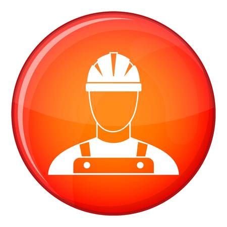 Builder icon in red circle isolated on white background vector illustration