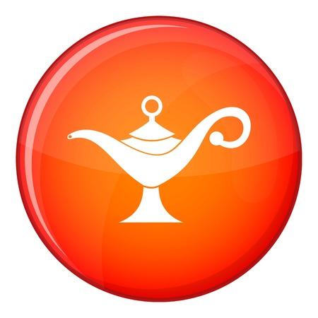 Icono de la lámpara de aceite de Oriente Medio en el círculo rojo aislado en la ilustración de vector de fondo blanco