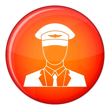 captain cap: Pilot icon in red circle isolated on white background vector illustration Illustration