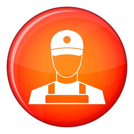 A man in a cap and uniform icon in red circle isolated on white background vector illustration Illustration
