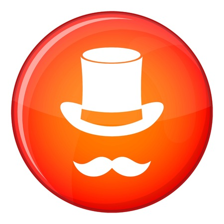 hocus pocus: Magic black hat and mustache icon in red circle isolated on white background vector illustration