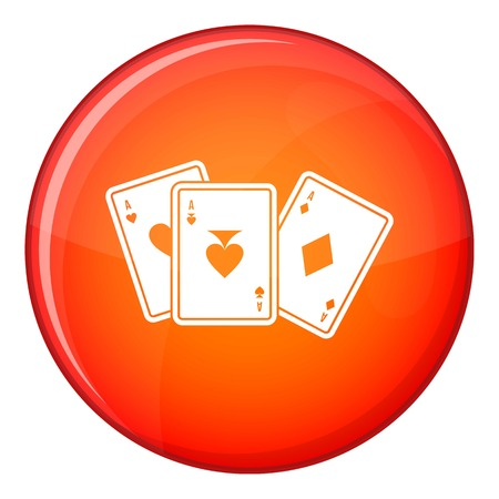 Playing cards icon in red circle isolated on white background vector illustration