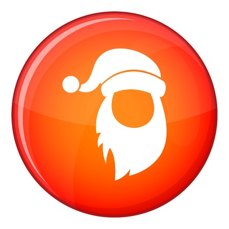 Cap with pompon of Santa Claus and beard icon in red circle isolated on white background vector illustration