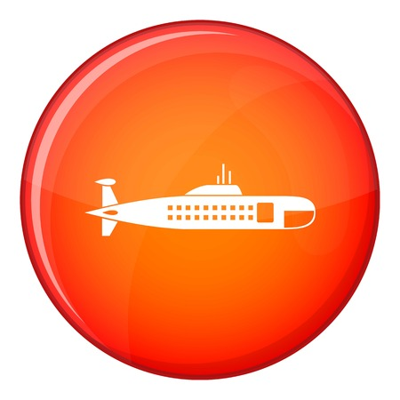 Military submarine icon in red circle isolated on white background vector illustration