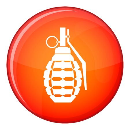 Hand grenade, bomb explosion icon in red circle isolated on white background vector illustration Illustration