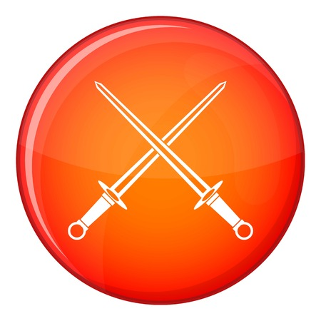 excalibur: Swords icon in red circle isolated on white background vector illustration