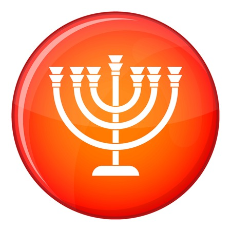 Menorah icon in red circle isolated on white background vector illustration Illustration