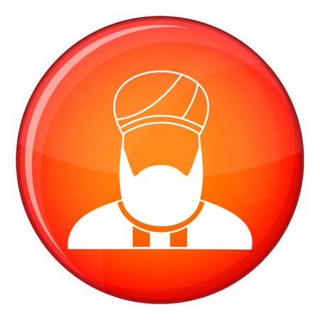 predicador: icono predicador musulmán en el círculo rojo aislado en el fondo blanco ilustración vectorial