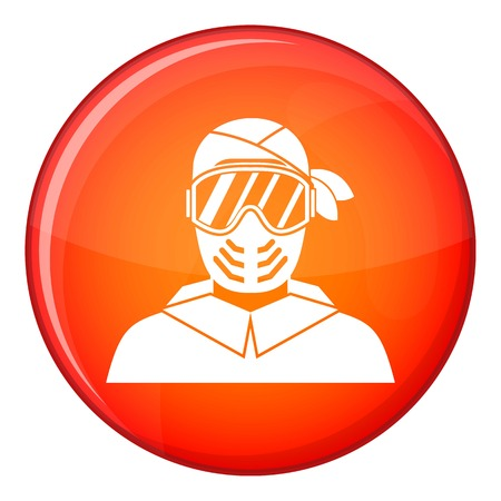 protective mask: Paintball player wearing protective mask icon in red circle isolated on white background vector illustration
