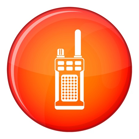 Portable handheld radio icon in red circle isolated on white background vector illustration