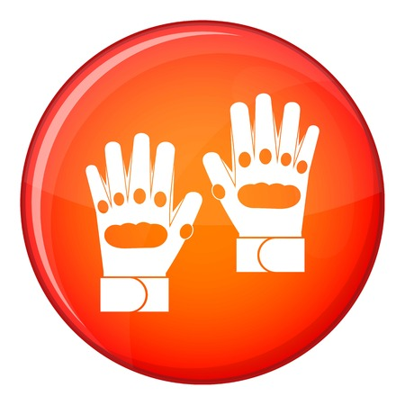Pair of paintball gloves icon in red circle isolated on white background vector illustration