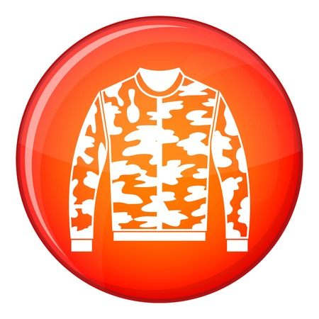 Camouflage jacket icon in red circle isolated on white background vector illustration Illustration