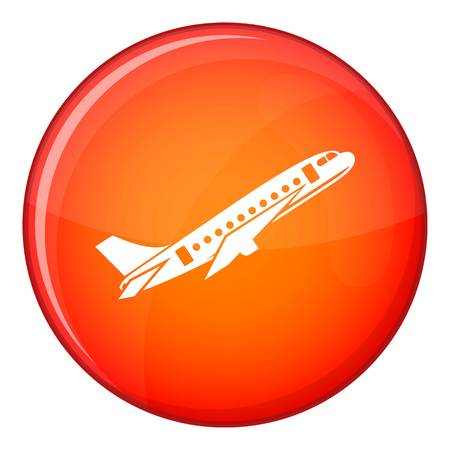 Aircraft icon in red circle isolated on white background vector illustration Illustration