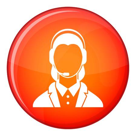 support phone operator in headset: Support phone operator in headset icon in red circle isolated on white background vector illustration Illustration